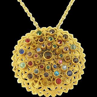 Colorful Rhinestone Filigree Coin/Change Holder Pendant Necklace