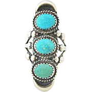 Navajo Sterling Silver and Turquoise Long Ring signed by J. Duboise - Size 7-3/4