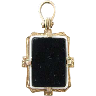 Victorian 14k Gold Hard Stone Cameo Double Sided Locket Fob/Charm/Pendant