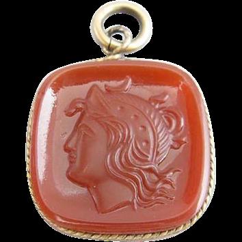 Artemis Carnelian Glass Cameo Pendant