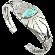 Navajo Sterling Turquoise Arrowhead Cuff Bracelet