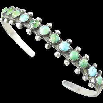 Zuni Snake Eyes Turquoise Sterling Cuff Bracelet Circa 1930s