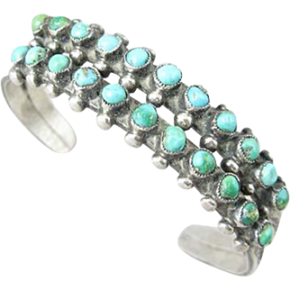 Zuni Snake Eyes Turquoise Sterling Double Row Cuff Bracelet Circa 1930s