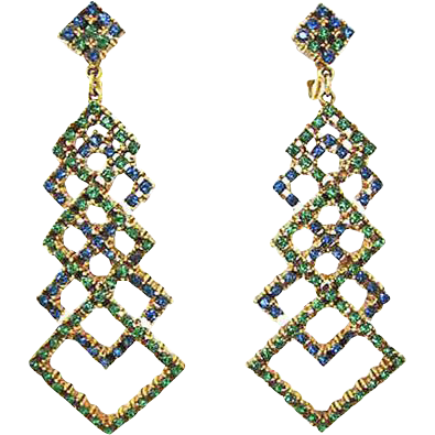 Amazing Green & Blue Rhinestone Pendant Earrings by Art