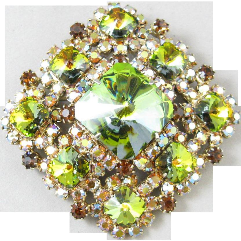 Green Heliotrope Rivoli Rhinestone Pin