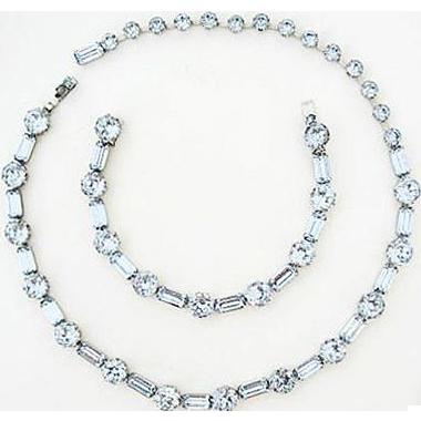 Fenichel Fabulous Light Blue Sapphire Rhinestone Necklace & Bracelet