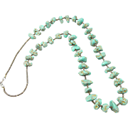 Native American Green Turquoise Nugget and Heishi Bead Necklace