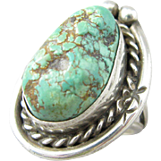 Native American Navajo Sterling Turquoise Nugget Ring