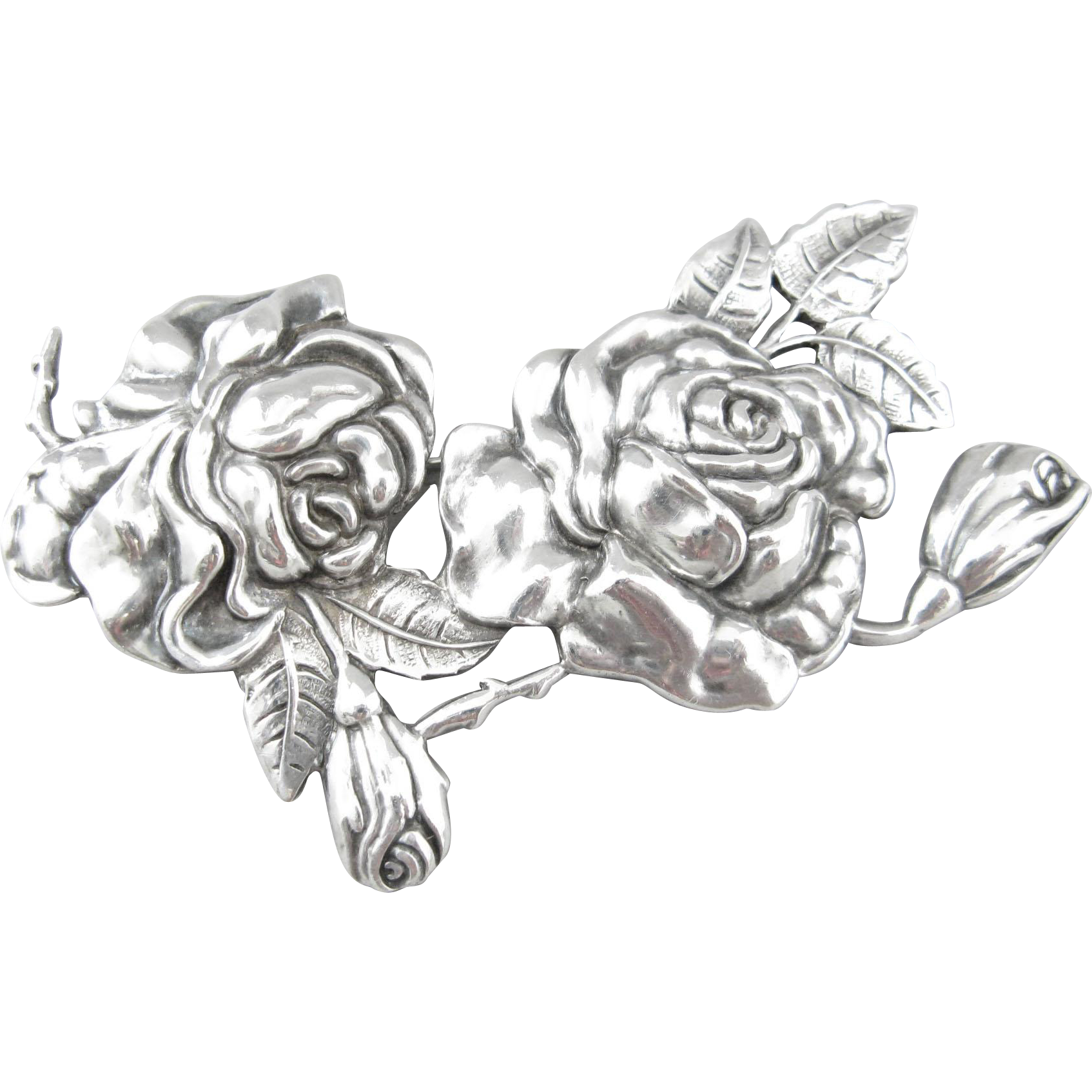 Margot de Taxco Sterling Silver Rose Pin