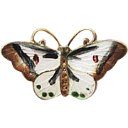 Ox  Sterling Enamel Butterfly Pendant/Necklace