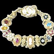 Vintage 14k Gold Victorian Style Slide Charm Bracelet, Diamond Clasp