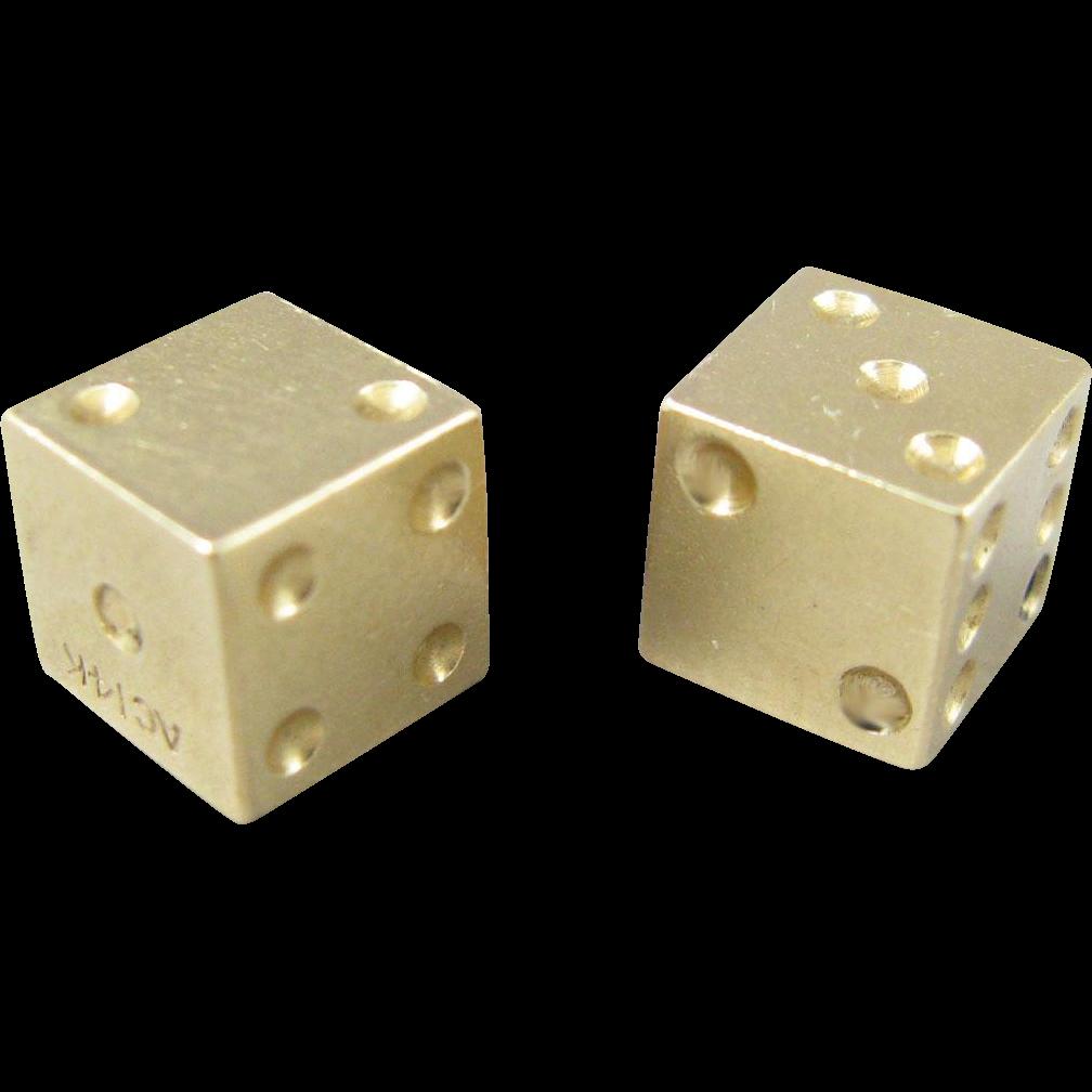 Vintage 14k Gold 3D Dice Charm/Pendant
