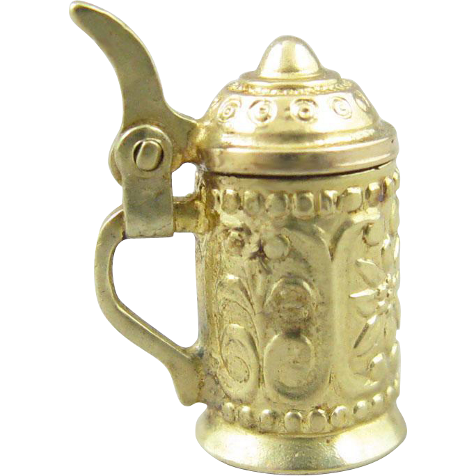 Vintage 14k Gold Beer Stein Movable Charm/Pendant
