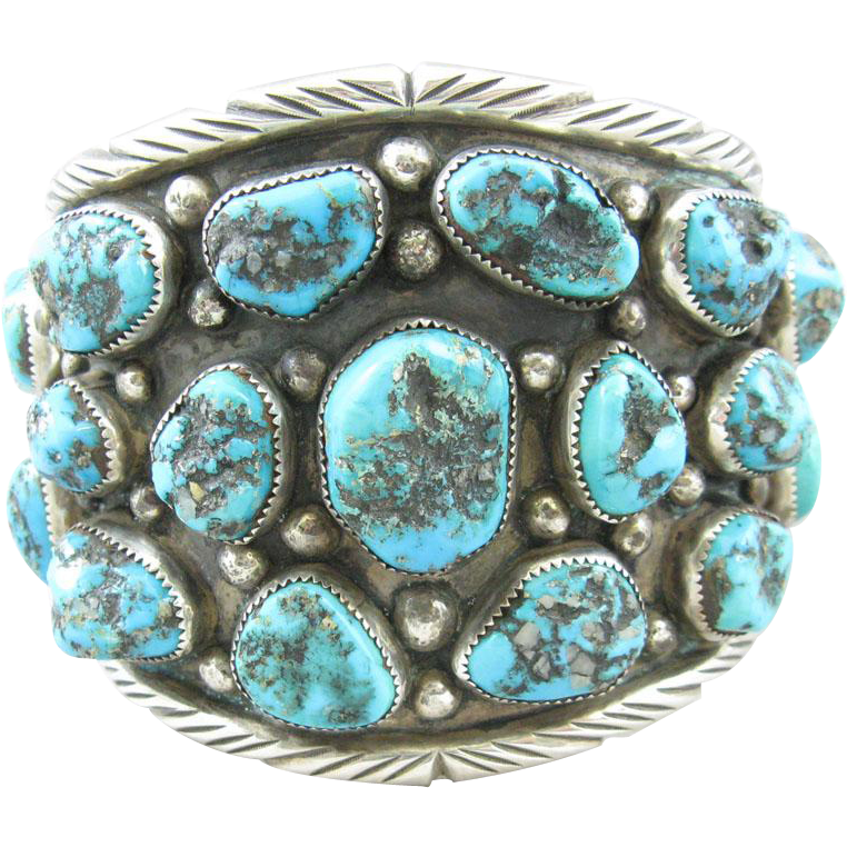 Large Native American Navajo Turquoise & Sterling Cuff Bracelet
