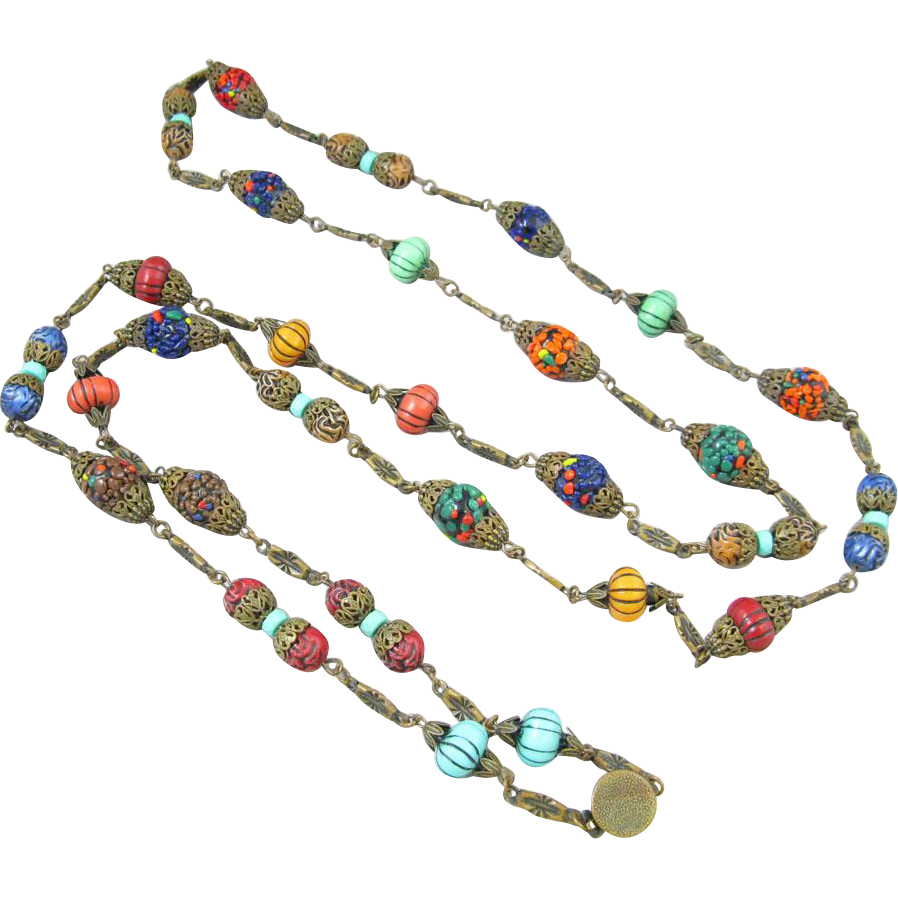 Incredible Glass Lampwork Bead and Filigree Necklace
