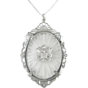 Vintage Sterling Silver Filigree Camphor Pendant/Necklace with U.S. Seal