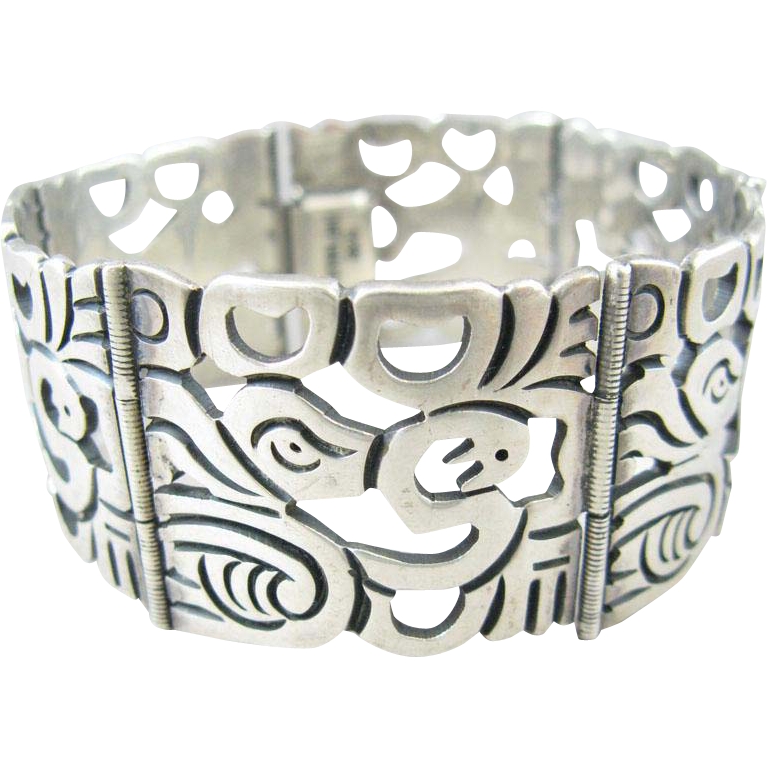 Large Panel Sterling Mexican Style Bracelet