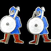 Sterling Enamel Medieval Knight Cufflinks
