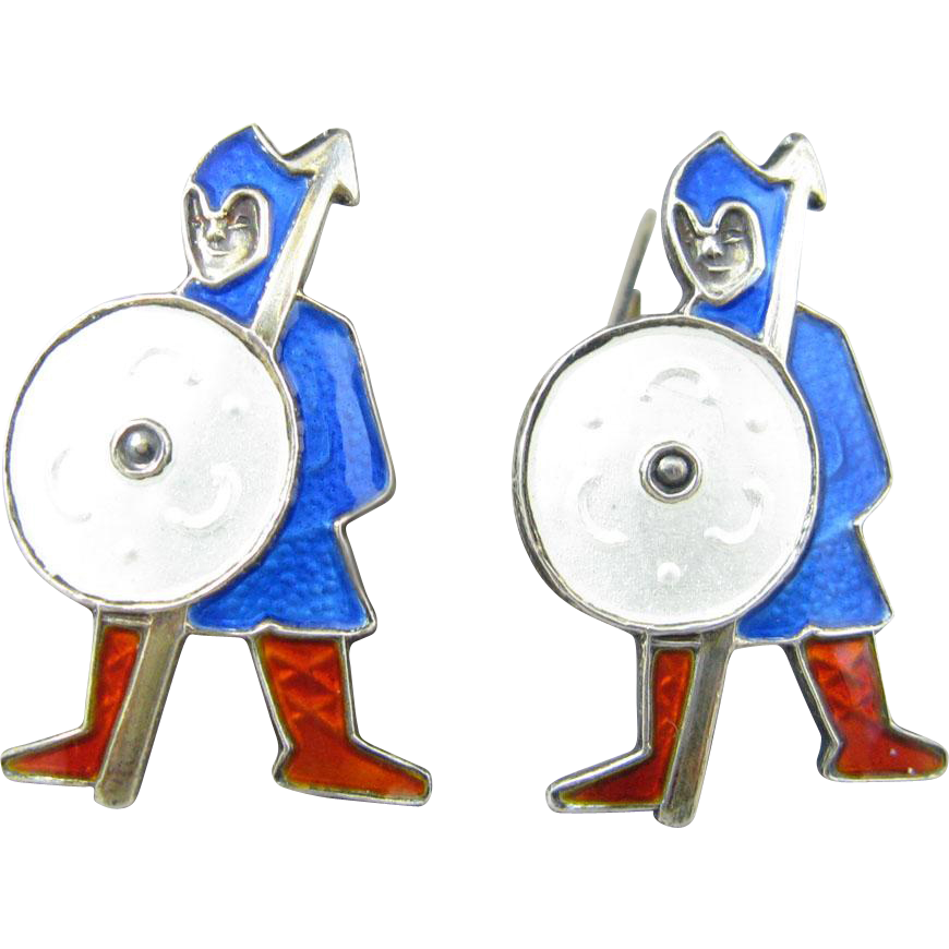 Sterling Enamel Medieval Knight Cufflinks