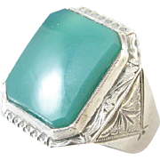 Chrysoprase Men's Sterling Silver Ring