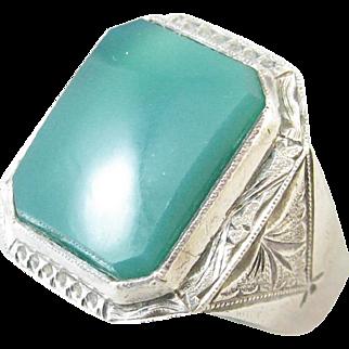 Chrysoprase Men's Sterling Silver Ring