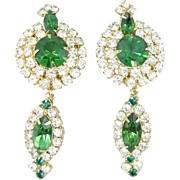 Hobe Green and Crystal Rhinestone Drop Earrings