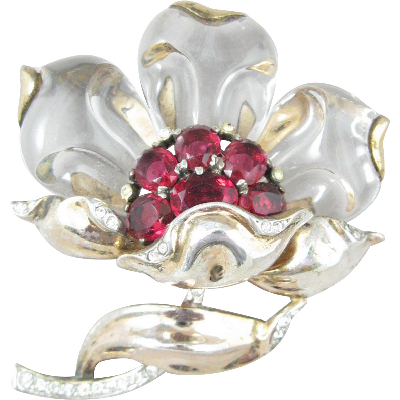 TRIFARI sterling 1944 Jelly Belly Peony Flower Brooch/Pin