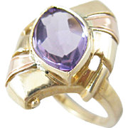 Retro Vintage Rose and Yellow Gold Amethyst Ring