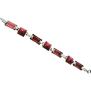 Art Deco Sterling Red Enamel & Glass Cabochon Bracelet by Cahoone & Company