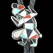 Zuni Rainbow Man Native American Sterling Bolo Tie