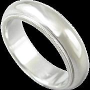 Vintage 14K White Gold Artcarved Wedding Band Ring