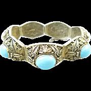 Chinese Export Silver Filigree Turquoise Bracelet