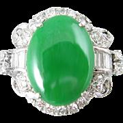 Jadeite Jade Platinum and Diamond Vintage Art Deco Ring
