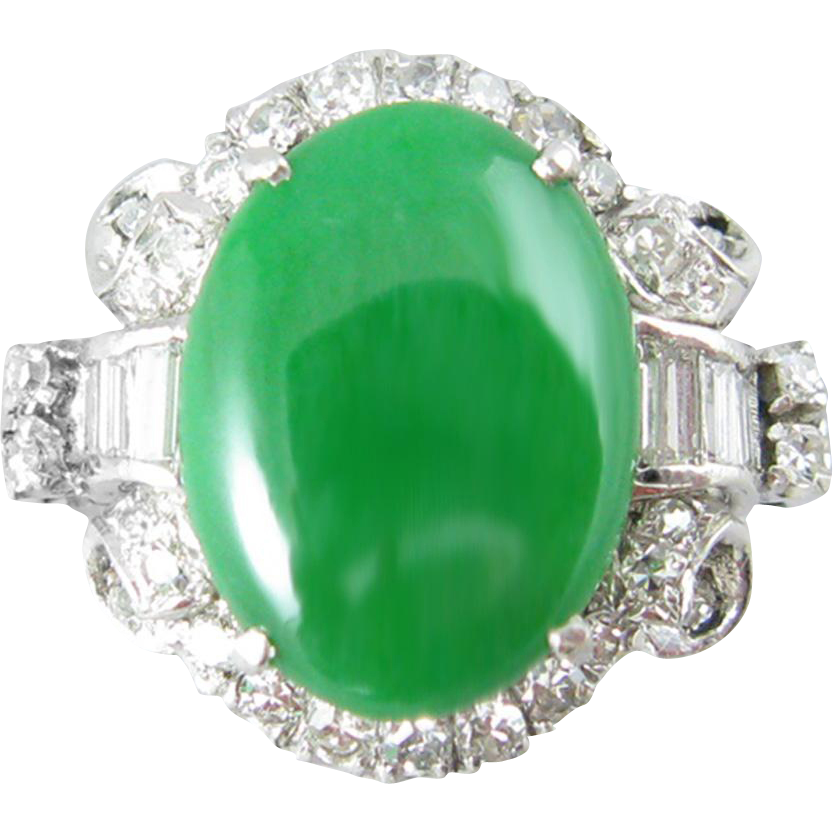 Jadeite Jade Platinum and Diamond Vintage Art Deco Ring