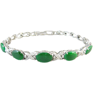 Jadeite Jade 14k Gold and Diamond Vintage Bracelet