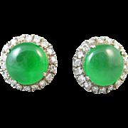 Jadeite Jade 14k Gold and Diamond Vintage Art Deco Earrings