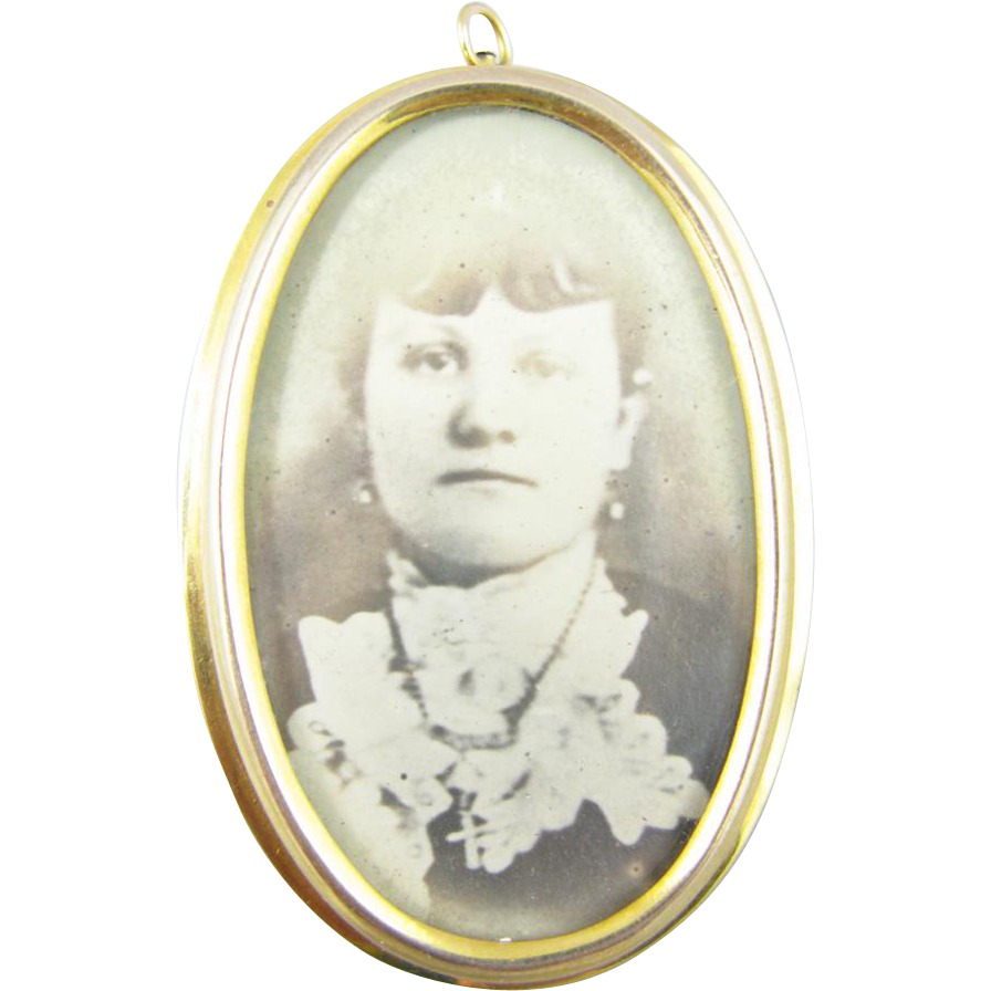 Gold Picture Photo Pendant/Pin ca 1900s