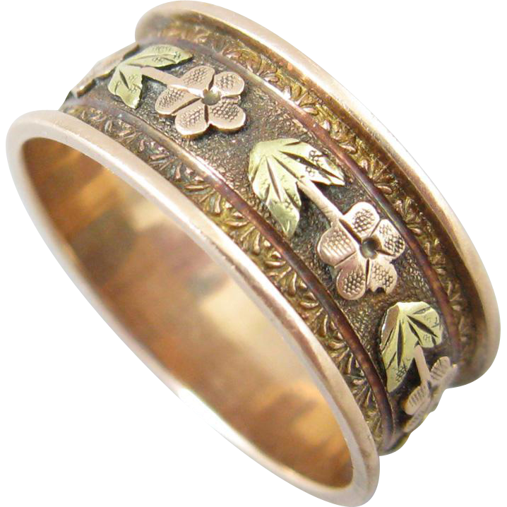 floral gold cigar band ring from