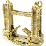 Vintage London Tower Bridge 14k Gold Mechanical Charm