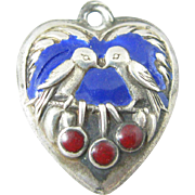 Rare Vintage Bird and Cherries Enamel Sterling Silver Heart Charm