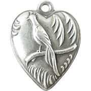 Vintage Bird of Paradise Sterling Heart Charm