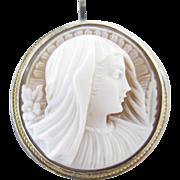 Mary Magdalene Shell Cameo Silver Pin/Pendant