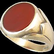 Carnelian 10k Gold Men's Ring