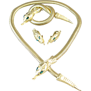 Coro Francious Snake/Serpant Necklace, Pin and Earrings