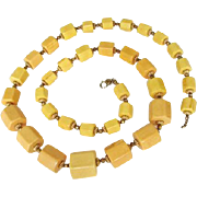 Cadoro ChunkyYellow-Butterscotch Bakelite Long Necklace