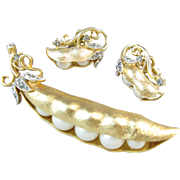 Trifari Glass Pearl and Rhinestone Pea Pod Pin and Earrings