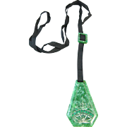 Green Celluloid and Rhinestone Pendant/Necklace