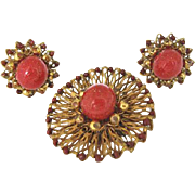 Josef Morton Stunning Carnelian Art Glass Brooch & Earrings