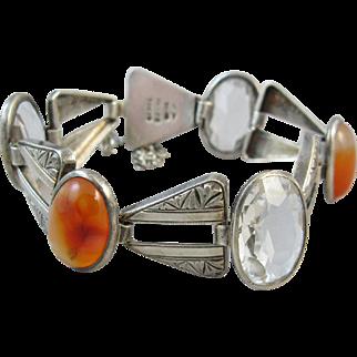 Vintage Silver Agate and Rock Crystal Inuoe Tokyo Bracelet