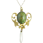 Art Nouveau 10k Gold, Pearl, and Turquoise Pendant/Necklace
